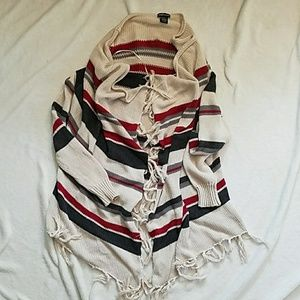 Slouchy Striped Frilly Cardigan Wet Seal Sz S